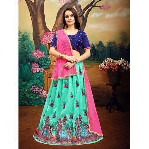 7ebd726f68 Bangalore Silk Green Semi-Stitched Embroidered Lehenga Choli, Rs ...