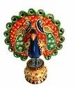 Nirmala Handicrafts Wooden Painting Dancing Peacock Statue Hoem And Table Decor