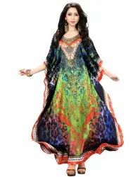 Multi Color Satin Silk Long Kaftan Dress For Women