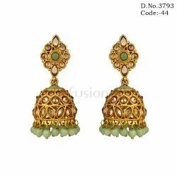 Traditional Polki Mint Green Jhumka Earrings