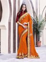 Chiffon Orange Plain Saree