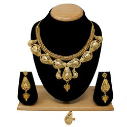 Party, Wedding Wear Traditional 1 Gram Gold Forming Work Golden Color Necklace Set