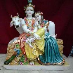Traditional Radha Krishna Marble Statue