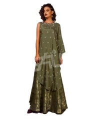Silk Party Wear Green color designer dress