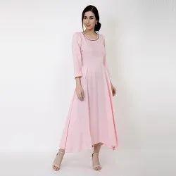 Women Calm Cotton Baby Pink Color Maxi Dress