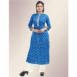 Cotton Blue 3/4th Sleeve Printed A Line Kurti and Pant Set