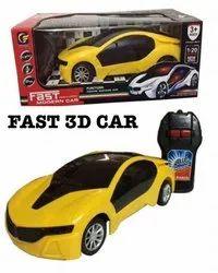 Yellow Plastic Fast 3D Car