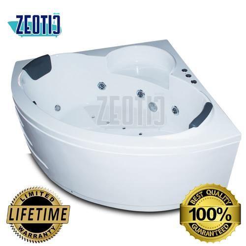 White Zeotic India Galina Jacuzzi Corner Massage Bathtub