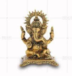 Gold Plated Sitting Ganesh Murti