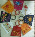 Poly Dupion Silk Embroidered Hand Bags