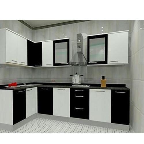 Black, White Modern PVC Modular Kitchen