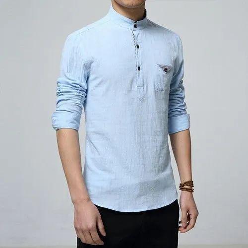 Blue Cotton/Linen Mens Linen original shirts