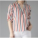 Women White & Navy Lightweight Striped Shirt Style Top