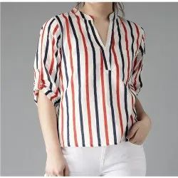 Cotton Roll-Up Sleeves Women White & Navy Lightweight Striped Shirt Style Top