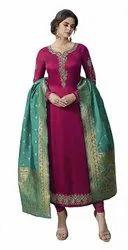 Unstitched Pink, Firozi Designer Silk Suits, Machine wash