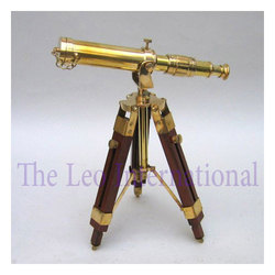 Nautical Brass Telescope With Wooden Tripod