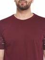 100% Cotton Men Short Sleeve Solid Maroon Round Neck T-shirt