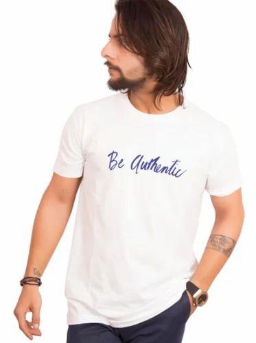 91977c9d25c470 T-identi-T White Cotton Half Sleeve T-shirt