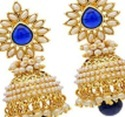Gold Plated Blue Stone Jhumka