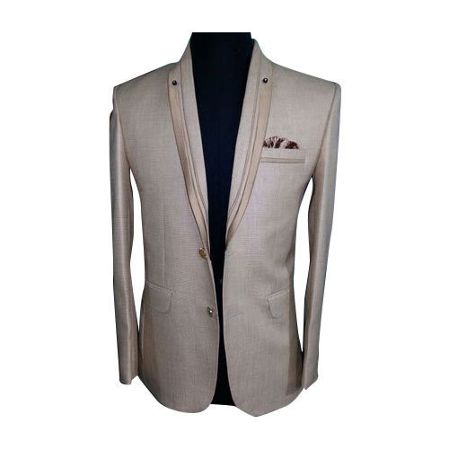 Cream And Polyester Mens Designer Wedding Suit
