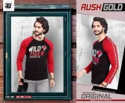 Full Sleeves Cotton Rush Gold Mens Round Neck T Shirt, Size: L