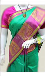 Fancy people Wedding Ladies Kanchipuram Green Silk Saree, 6.3 m (with blouse piece)