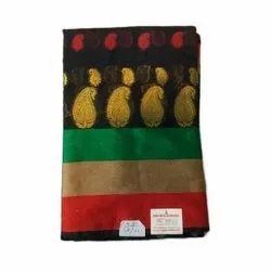 Black Casual Womens Elegant Look Banarasi Cotton Silk Saree, 6.5 m, With Blouse Piece