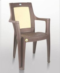 Neelgagan Brown and Yellow Plastic Chair With Armrest