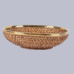 Oval Shallow Cane Fruit Bowl, Size: 13 Inches