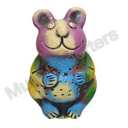Terracotta Green Rabbit Showpiece