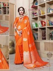 Party Wear HEAVY WEAVING Designer Cottan Silk Sarees, 5.5 m (separate blouse piece)