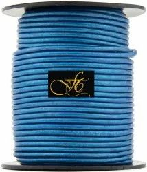 Blue Metallic Round Leather Cord