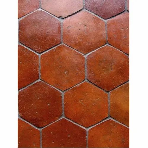 Red Hexagon Terracotta Floor Tile Thickness 8 10 Mm Rs 40