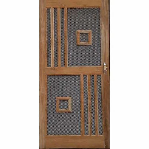 Wooden Wire Mesh Cabinet Hinged Door