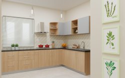 Plywood Finish Modular Kitchen