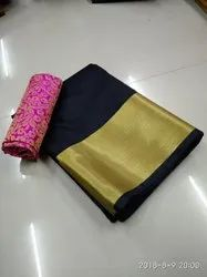 Women's  Plain Cotton Silk Sarees