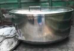 Silver Industrial Stainless Steel Kadhai