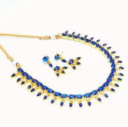 Kala Emporium Brass Wedding Jewelry Set Blue Color Choker Necklace Set