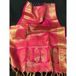 Cotton Silk Pink Banarasi Stole, Packaging Type: Packet