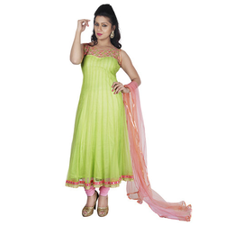 Plain Lime Green Anarkali Suit, Size: S-XL