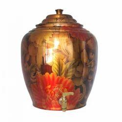 Indian Cart Villa Copper Floral Printed Water Pot 15 Litre