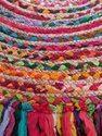 Cotton, Jute Striped Cotton Chindi Jute Floor Multi Color Rug, Size: 36 Inches