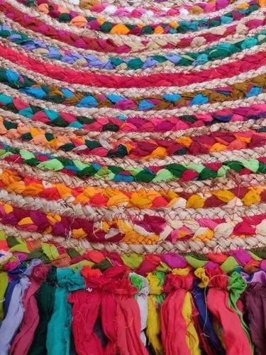 Cotton Chindi Jute Floor Multi Color Rug