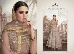 Georgette Embroidered Wedding Gown