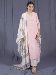 Women Pink Cotton Indian Festive Wear Kurti and Palazzo With Dupatta Set
