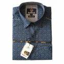Mens Blue Printed Shirt