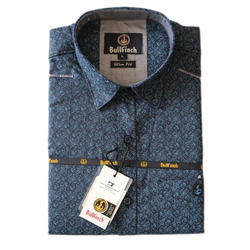 Cotton L Mens Blue Printed Shirt