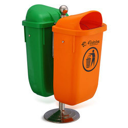 Green & Orange 100 % Virgin HDPE 50 Liter Industrial Dustbin With Pole Stand, Size: L 62 X W 43 X H 74 CM