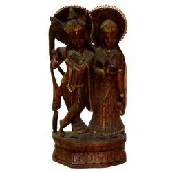 Wooden Radha Krishna Statue With Black Finishing Work
