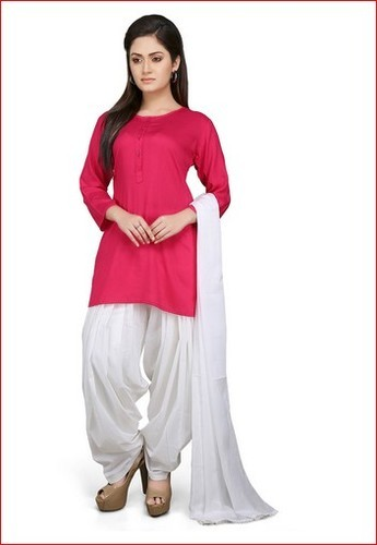 021b14235 Plain Rayon Punjabi Suit in Fuchsia